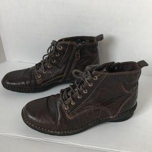 Clarks Nikki North Boots Brown 8.5M Leather Zip